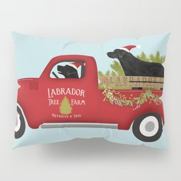 Black lab dog labrador christmas tree farm vintage red truck Pillow Sham