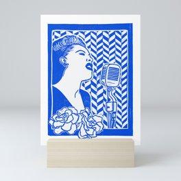 Lady Day (Billie Holiday block print) Mini Art Print