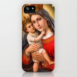 The care of mother's love in oil painting. iPhone Case