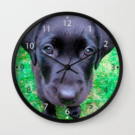 Black Labrador Dog on Grass Wall Clock