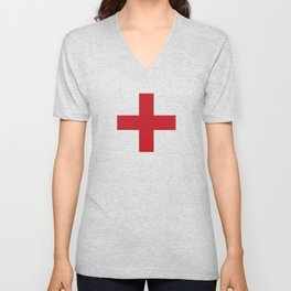 Crosses | Criss Cross | Plus Sign | Hygge | Scandi | Red and White | Unisex V-Neck