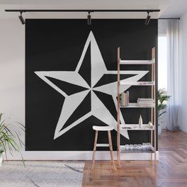 White Tattoo Style Star on Black Wall Mural