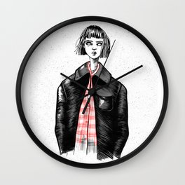 The zombie girl with the leather jacket Wall Clock