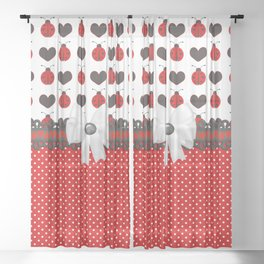 Ladybug and Hearts Sheer Curtain