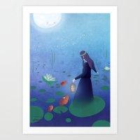 fireflies Art Prints featuring Fireflies by germaine caillou