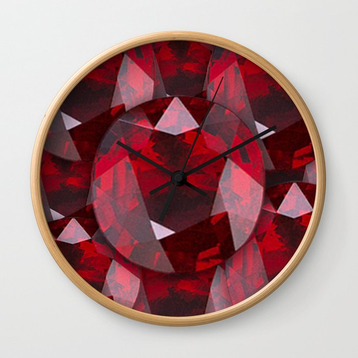 RED GARNET GEMS JANUARY BIRTHSTONE Wall Clock