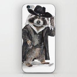 """"""" Raccoon Bandit """" funny western raccoon iPhone Skin"""