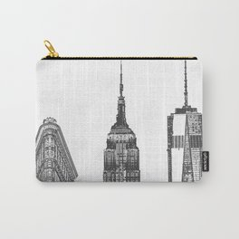 New York City Iconic Buildings-Empire State, Flatiron, One World Trade Carry-All Pouch