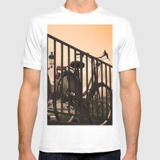 Bike in Paris White MEDIUM Mens Fitted Tee