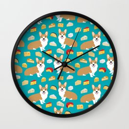 corgi cheese lover - edam, brie, cheddar, camembert, french food, food, cute dog Wall Clock
