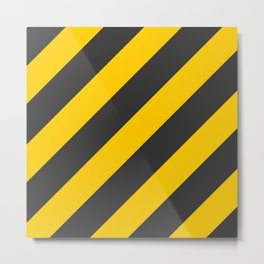 Stripes Diagonal Black & Yellow Metal Print
