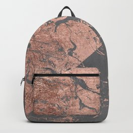 Modern rose gold marble inverted color block grey cement concrete Backpack