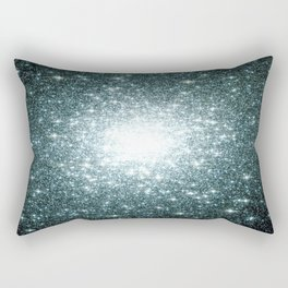 Ash Naples Blue Teal Galaxy Sparkle Stars Rectangular Pillow