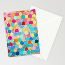 Patterned Honeycomb Patchwork in Jewel Colors Stationery Cards