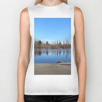 trout Biker Tanks featuring Trout Lake by RMK Creative