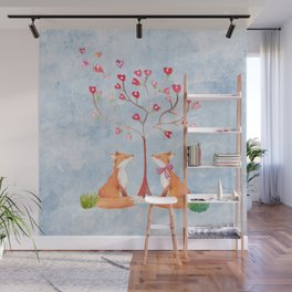 Fox love- foxes animal nature _ Watercolor illustration Wall Mural