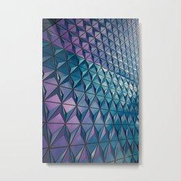 Neon Blue Purple Geometric Pattern Metal Print