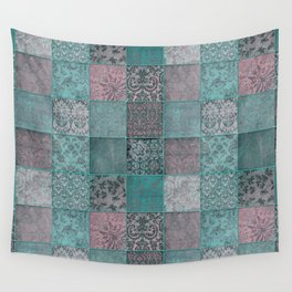 Nostalgic Patchwork Pattern Teal And Pink Wall Tapestry