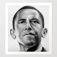 obama Art Prints featuring Obama by Emma Porter