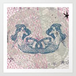 Double Mermaids Art Print
