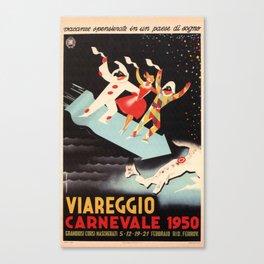Vintage Italian Advertising Poster - Viareggio Carnevale Canvas Print