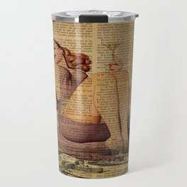 vintage newspaper print paris eiffel tower pin up girl Travel Mug