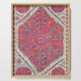 Large Medallion Suzani  Antique Uzbekistan Embroidery Print Serving Tray
