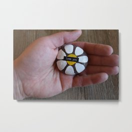 Love you-hand holding rock painted with a daisy motif Metal Print