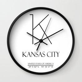 Kansas City Gps Coordinates N1019 Wall Clock