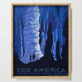 See America Vintage Poster: Carlsbad Caverns (1939) Serving Tray