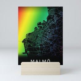 Malmö, Sweden, City, Map, Rainbow, Map, Art, Print Mini Art Print