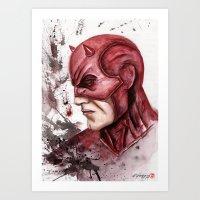 daredevil Art Prints featuring Daredevil by rchaem