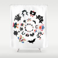 psychology Shower Curtains featuring Rorschach test subjects' perceptions of inkblots psychology   thinking Exner score  by Luxorama