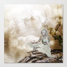 Fairy and the swan Canvas Print