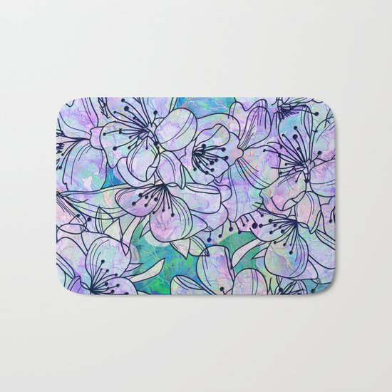 Over and Over Flowers Bath Mat