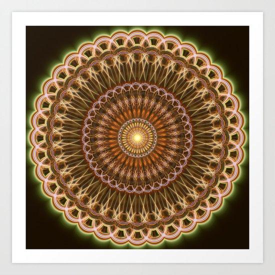 Patterns mandala in earth tones Art Print