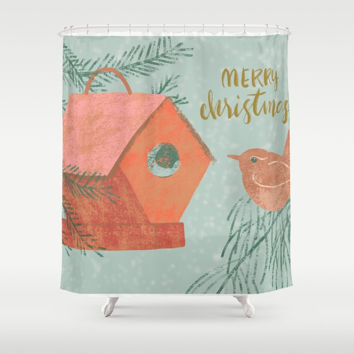 Merry Christmas Wren With Bird House Shower Curtain