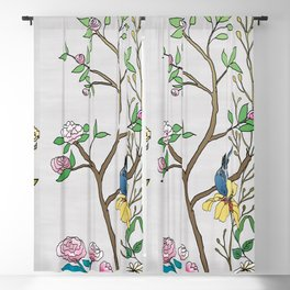 Chinoiserie Panels 4-5 Silver Gray Raw Silk - Casart Scenoiserie Collection Blackout Curtain