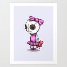 Skull Girl Plushie Art Print