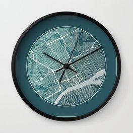 Detroit Map Planet Wall Clock