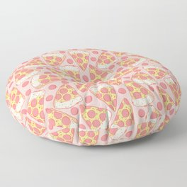 Pink Pepperoni Pizza Pattern Floor Pillow