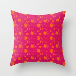 Orange Daisy Flowers on Hot Pink Background Throw Pillow