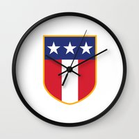 patriots Wall Clocks featuring USA Icon by McGrathDesigns