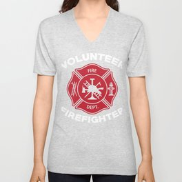 Volunteer Firefighter Fireman Fire Fighter Unisex V-Neck