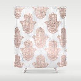 Modern rose gold floral lace hamsa hands white marble illustration pattern Shower Curtain
