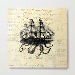 Kraken Octopus Attacking Ship Multi Collage Background Metal Print