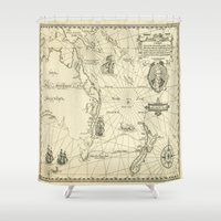 maps Shower Curtains featuring Old Maps by tanduksapi
