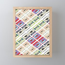 1980s hip hop pop culture colorful pattern cassette tape Framed Mini Art Print