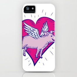Pig With Wings Flying Heart Doodle iPhone Case