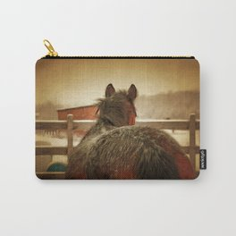 Horse Along a Fence with Snow in Winter. Golden Age Painting Style. Carry-All Pouch